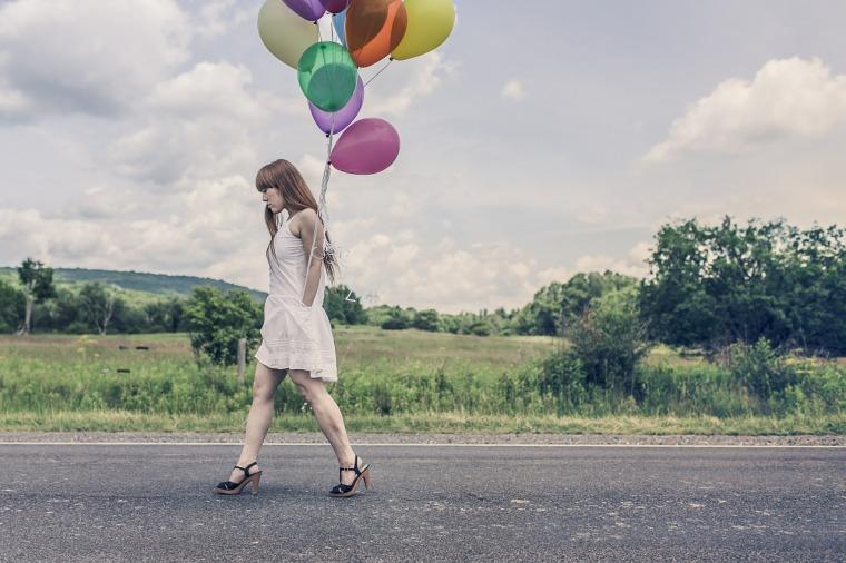 Girl Happy Birthday Party Street Balloons Walking